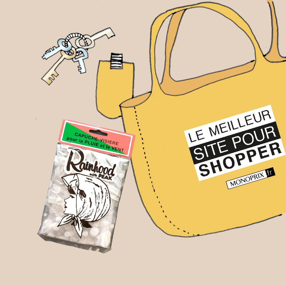 Kaltenopla blog DIY illustration - Le fichu de nos grand-mères à tailler dans un sac Monoprix